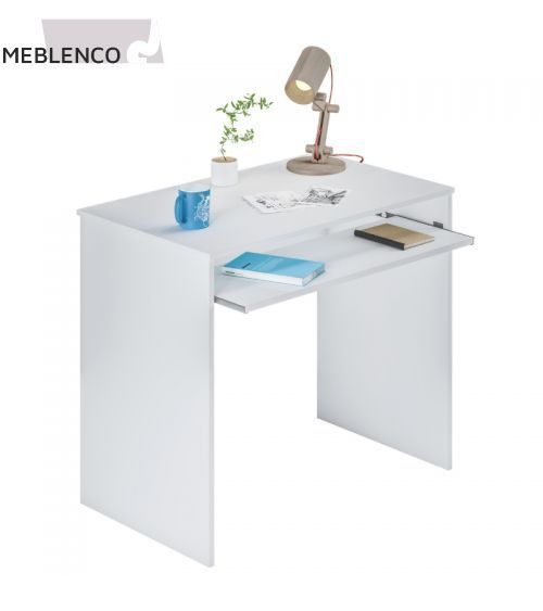 Desk with pull-out shelf white with decoration
