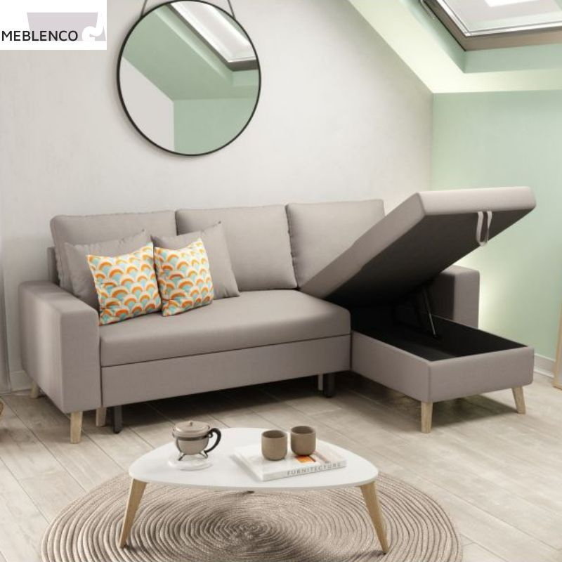 Canape D Angle Convertible Oxyde Gris Blanc
