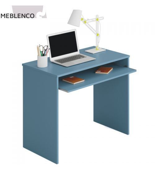 desk with pull-out shelf dark blue